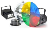 Beamz Disco Light Set 20cm Mirrorball with Motor Light and 20W Strobe