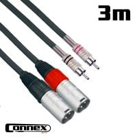 Connex XMRC-3T XLR male - RCA male 3m PRO Twin