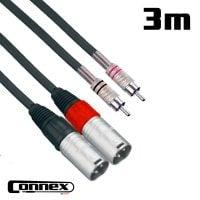 Connex XMRC-3T XLR male - RCA male 3m PRO Twin