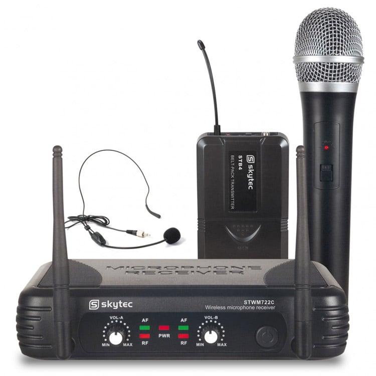 skytec stwm722c wireless microphone set handheld headset dj city. Black Bedroom Furniture Sets. Home Design Ideas