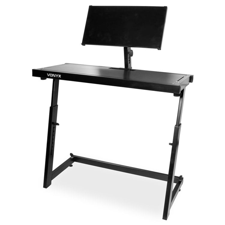 vonyx dj stand workbench adjustable mobile dj table with laptop shelf 8715693288346 ebay. Black Bedroom Furniture Sets. Home Design Ideas