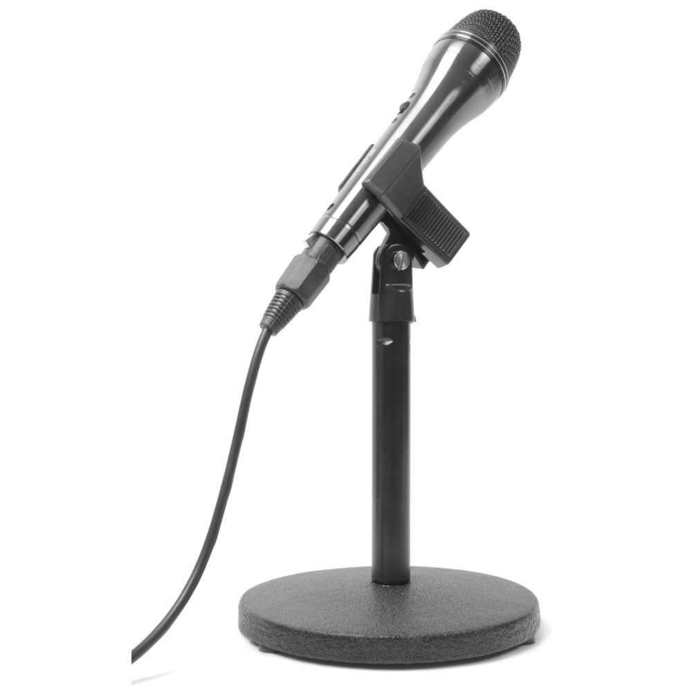 Vonyx Compact Table Top Short Microphone Stand Round Cast