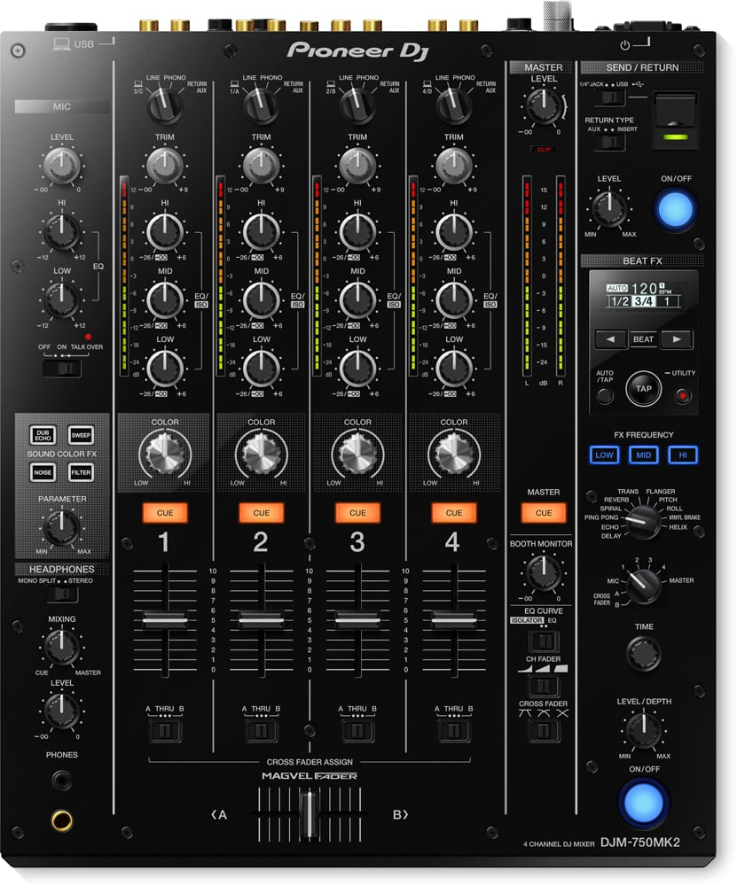 pioneer djm 750 mk2 4 channel dj mixer rekordbox dj dj city. Black Bedroom Furniture Sets. Home Design Ideas