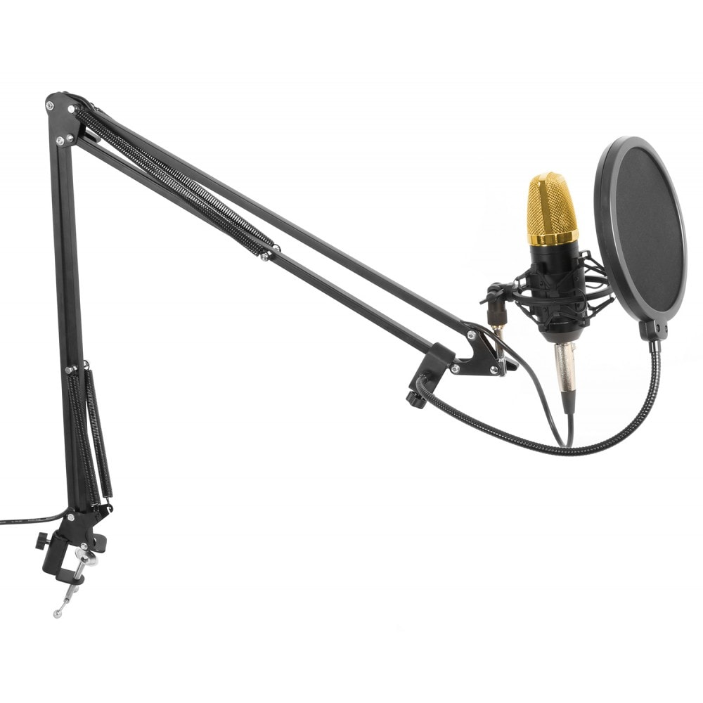 vonyx studioset gold studio microphone set with stand and pop filter dj city. Black Bedroom Furniture Sets. Home Design Ideas