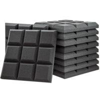 Acoustic Foam Grid Panel Charcoal - 50 Pack